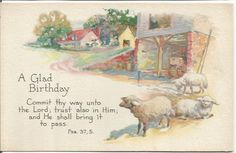 Antique 1920s Postcard A Glad Birthday by postcardsintheattic
