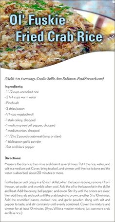 Feeding the family? They'll love Sallie Ann Robinson's Ol' Fuskie Fried Crab Rice • a Low Country delight!