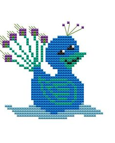 Items similar to Modern Cross Stitch Kit 'Duck in a Peacock Suit' Cross Stitch Kit - Duck on Etsy Butterfly Cross Stitch, Cross Stitch Art, Modern Cross Stitch, Cross Stitching, Cross Stitch Embroidery, Embroidery Patterns, Cross Stitch Patterns, Bead Loom Patterns, Perler Patterns