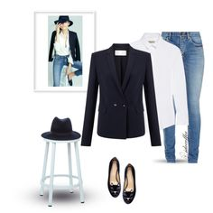Navy Blazer~White Button Up~Jeans 3/9/2016 by idocoffee on Polyvore featuring Burberry, HUGO, Yves Saint Laurent, Charlotte Olympia, rag & bone, OSP Designs and Love Always