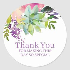 This watercolor floral thank you label is perfect for your special celebration. This design features a white background accented with a boho floral and succulent arrangement with custom typography. Size: inch (sheet of Gender: unisex. Watercolor Succulents, Watercolor Feather, Bohemian Theme, Boho, Succulent Arrangements, Thank You Stickers, Round Stickers, Different Shapes, Custom Stickers
