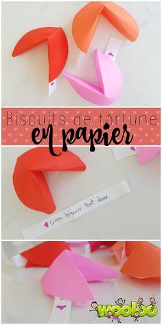 Envoyez un message à l'être cher avec ces jolis Biscuits de fortune en papier.  Biscuits chinois en origami
