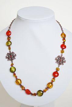 Orange Green Lampwork Necklace by JewelleryIrozochka on Etsy, $45.00