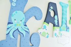 Navy Lime Green and Aqua Underwater Ocean Themed Wooden Letters for Nursery or Bedroom by KraftinMommy on Etsy