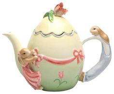 7.75 Inch Easter Egg Teapot with Bunnies and Ribbon Design farmhouse-teapots