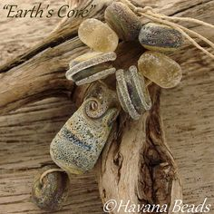 EARTH'S CORE - Fossilized Bead Set - Handmade Lampwork Beads - 8 Beads