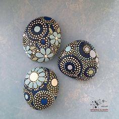 Beautiful Mandala Inspired Hand Painted Stones, Rock Art | by etherealearthrockart on Etsy