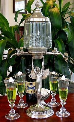 Lady Absinthe Fountain With Glasses And Spoons