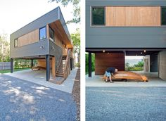 Modern home with Exterior, House, Wood Siding Material, and Metal Siding Material. Exterior entry stair (L); Owner using carport below house for boat-building project (R) Photo 2 of North Fork Bay House