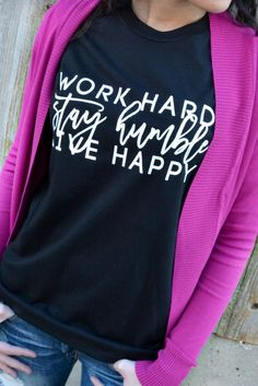 """Our Stay Humble Tee is a LaRue Exclusive and features a black super soft tee with the phrase """"Work Hard, Stay Humble, Live Happy"""" printed on the front in white. Made of 50% Cotton and 50% Polyester.."""