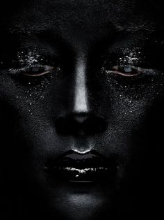 Black painted face. Mysterious <3