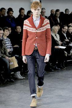 Junya Watanabe a/w 2011 knitted wool fair isle, shawl collar blazer