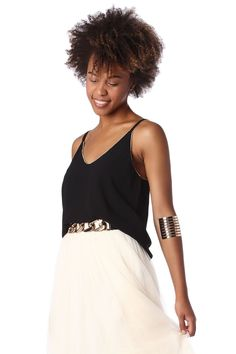 Black cami top with gold trim detail