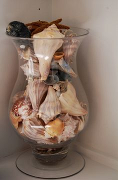 seashells!...have had a vase full of seashells in my seashell /mermaid bathroom for years. Never get tired of it!