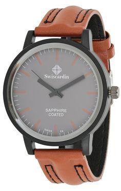Swiscardin Men Grey Dial Leather Band Watch - 11441Mw-G price, review and buy in UAE, Dubai, Abu Dhabi | Souq.com