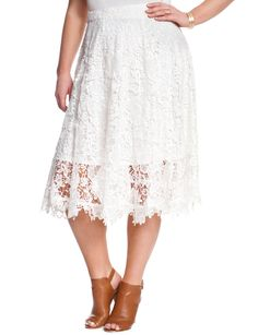 Scalloped Floral Lace Midi | Women's Plus Size Skirts | ELOQUII