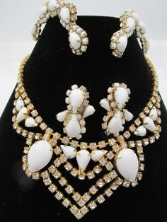 Vintage Kramer of New York White Milk Glass Necklace, Earrings and Hair Combs RARE Set