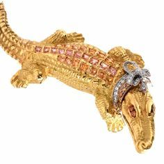Capello Italy Sapphire Diamond Gold Alligator Lapel Brooch