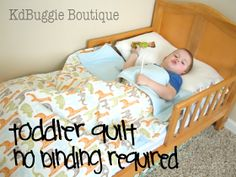 Naturally Creative Mama: DIY Toddler Bedding {making a quilt with batting WITHOUT using binding!!!}