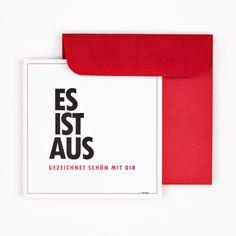 """GRUSSKARTE Es ist aus quadratisch """"Es ist aus"""" vorne inkl. Umschlag"""