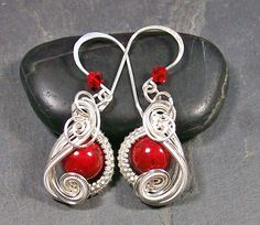 Red Coral & Silver Swish Earrings