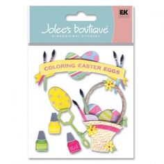 Easter is right around the corner, have you decorated eggs this year? Capture the moments with Jolee's scrapbooking sticker Coloring Eggs item SPJB287.    $1.25    (Holiday, Seasonal, Easter, Eggs, Dye, Color)