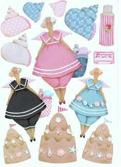 Happy chubby shells, sandcastles and ladies in old-fashioned swimsuits.  Cute! Tilda