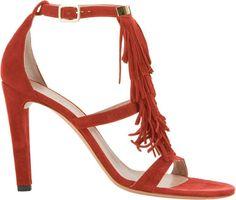 Chloé Suede Fringe-Trim Sandals-Red