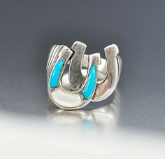 Turquoise Ring Sterling Silver Horse Shoe Ring by boylerpf on Etsy