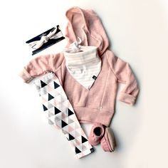 VONBON Blush Triangle organic cotton leggings with Rose Stripe bib bandana and headband. Childhoods hoodie, Minimoc Moccasins.