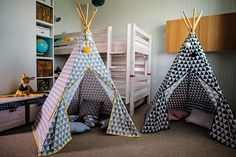 Teepee grey or black triangles by ElenLiving on Etsy Triangles, Kids Play Teepee, Indian Bedroom, Room Corner, Hanging Chair, Kids Playing, Baby Room, Kids Room, Child Room