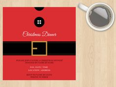 Digital Download Christmas Santa Claus Suit Invitation, Lunch, Dinner, Party, Secret Santa, Customisable, Red, Black, White, Modern, Xmas by DesignsByMoniqueAU on Etsy