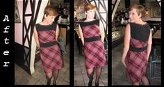 Striking refashioning of plaid skirt into stylish dress