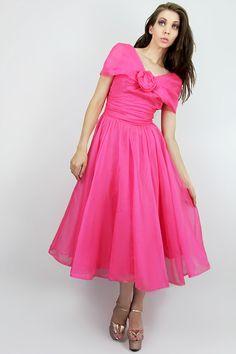 Dress 50's Vintage Silk CHIFFON Full Skirt Rose by TatiTatiStyle