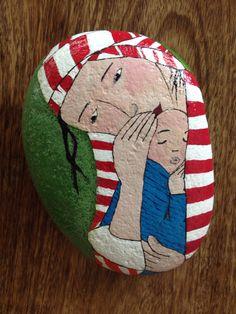 Tenderness (inspired by #Cecile Veilhan) #art #painted #stones #rocks #pebbles #acrylics #N4Joy