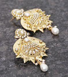 Golden & Green Embellished Earrings