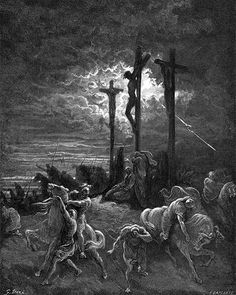 This painting by Gustave Dore depicts the crucifixion of Jesus. The bible says that the sky became very dark just before he died. Gustave Dore, La Sainte Bible, Crucifixion Of Jesus, Biblical Art, Arte Horror, Romanticism, Sacred Art, Bible Art, Religious Art