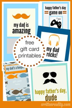 5 FREE Father's Day Gift Card Printables {writtenreality.com} #FathersDay #Printables #DIY