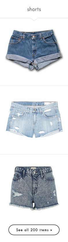 """""""shorts"""" by mihai-theodora ❤ liked on Polyvore featuring shorts, bottoms, pants, blue, black, women's clothing, high-waisted shorts, blue jean shorts, denim shorts and vintage high waisted shorts"""