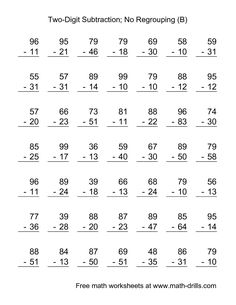 The Two-Digit Subtraction with No Regrouping -- 49 Questions (B) math worksheet from the Subtraction Worksheet page at Math-Drills.com.
