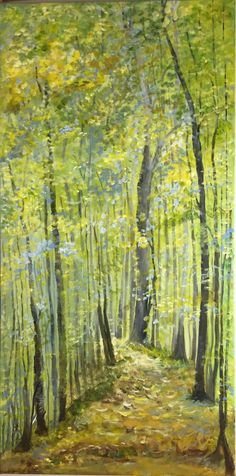36 x 18 inch gallery wrapped canvas Acrylics Inspired by the forest preserves in the fall. Impressionist style of painting, inspired by Monet.