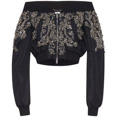 Zuhair Murad     Off the Shoulder Nylon Bomber Jacket with Crystal... ($4,500) ❤ liked on Polyvore featuring outerwear, jackets, tops, zuhair murad, black, beaded jacket, blouson jacket, flight bomber jacket, flight jacket and nylon flight jacket