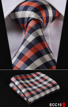 Cheap handkerchief set, Buy Quality mens ties neckties directly from China mens ties Suppliers: Navy Blue Orange Check Silk Woven Men Tie Necktie Handkerchief Set Blazer Fashion, Suit Fashion, Mens Fashion, Fashion Group, Tie And Pocket Square, Pocket Squares, Elegant Man, Dress For Success, Fine Men