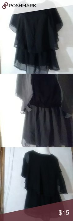 NWT RUFFLE SHEAR SLEVELESS BLOUSE New with tags peekaboo shoulders two layer Ruffles sheer top sleeveless underneath crew neck black size large super sexy and cute on wo yi wo lu Tops Blouses