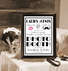Photo Booth Props, 1920's Wedding Sign, 8 X 10 inches. Reception DIY Printable, Photo Booth Sign, Photo Prop Sign, Gatsby Wedding, Mustache