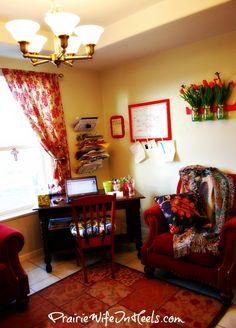 Office corner and seating area! Where the Magic Happens - PrairieWifeinHeels.com