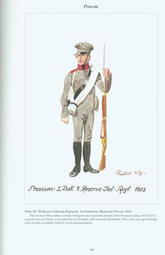 Prussia: Plate 20. 7th Reserve Infantry Regiment, 1st Battalion, Musketeer Private, 1813