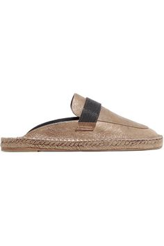 BRUNELLO CUCINELLI   Chain-embellished metallic leather espadrille slippers #Shoes #Flat_Shoes #Slip-ons #BRUNELLO CUCINELLI