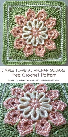 Crochet Granny Square Blankets Simple 10 Petal Afghan Square Free Crochet Pattern - All the best free crochet patterns. Motifs Granny Square, Granny Square Pattern Free, Crochet Pattern Free, Granny Square Crochet Pattern, Crochet Flower Patterns, Crochet Stitches Patterns, Crochet Designs, Crochet Flowers, Free Crochet Square