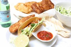 La Victoria pineapple salsa is a fresh addition to beer batter fish tacos. This easy and delicious recipe will quickly be a favorite for your whole family.